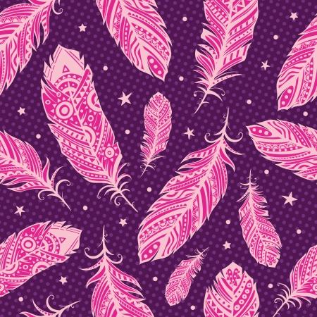 native indian: Patr�n de plumas rosa Vectores