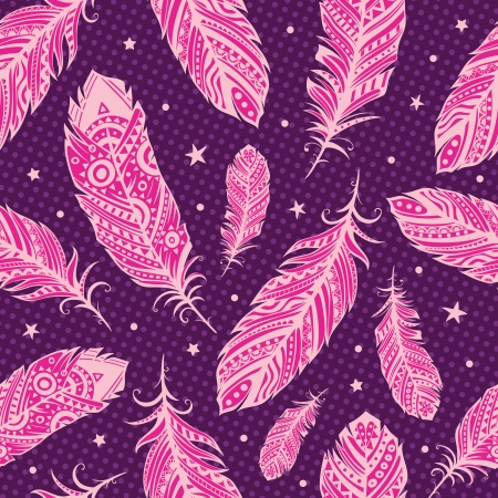 Pink feather pattern Vector