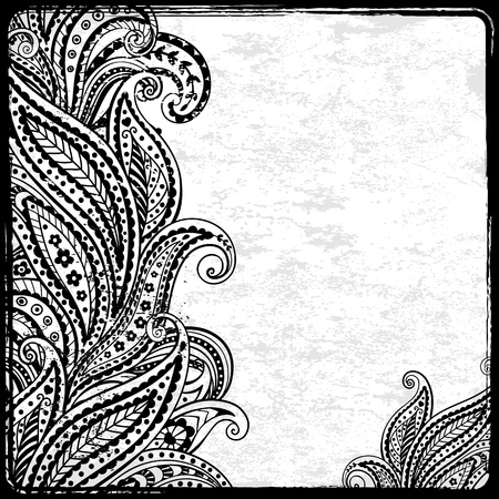 Zwart paisley kader Stock Illustratie