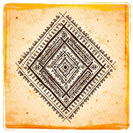 Vintage Ethnic sunflower background Ilustracja