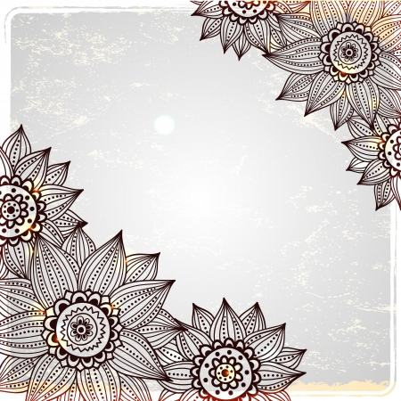 Sunflower frame on the vintage background Vector