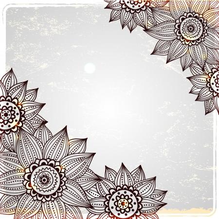 Sunflower frame on the vintage background