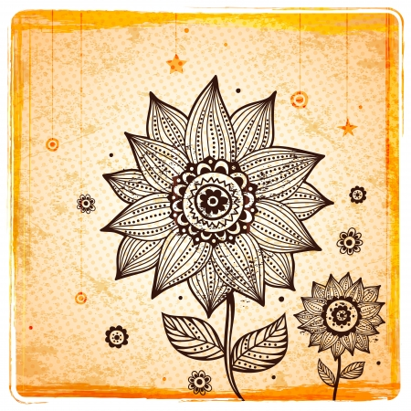 Vintage Ethnic sunflower background Vector