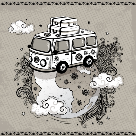 Travel old fashion car Vector