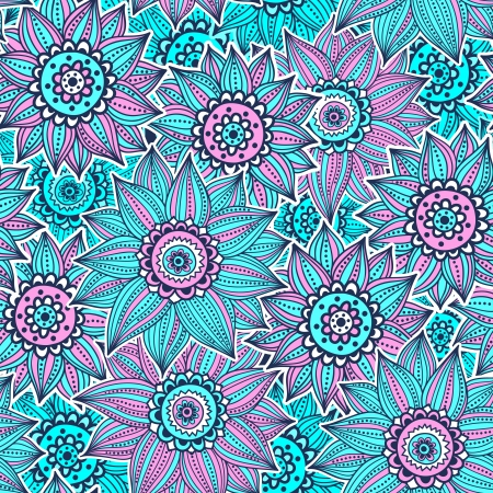 Pink and blue sunflower pattern Vector