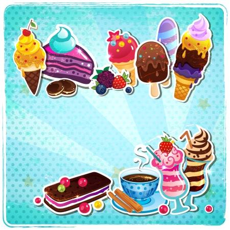 Rétro menu de crème glacée Banque d'images - 17659934