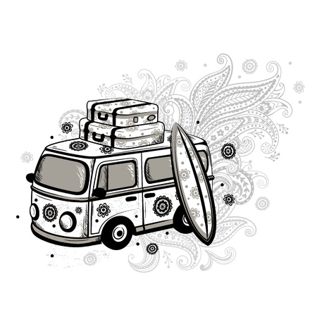 Travel old fashion car Stock Vector - 17659933