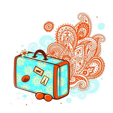 레트로 여행 가방 스톡 콘텐츠 - 17659935