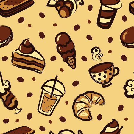 ice tea: Dessert pattern Illustration