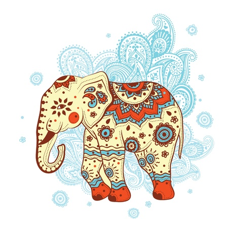 Etnische olifant Stock Illustratie
