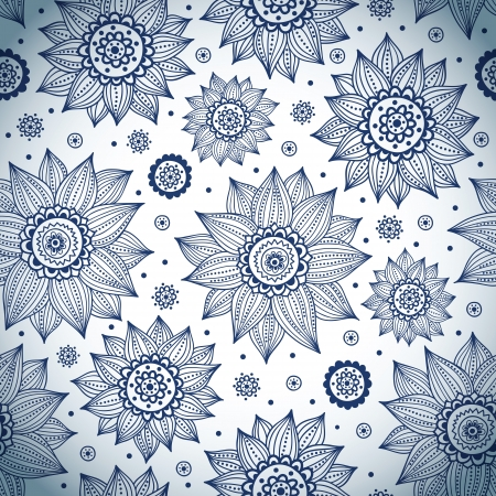 Blue sunflower pattern Иллюстрация