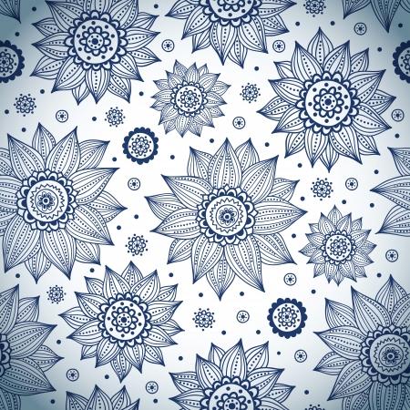 abstract art: Blue sunflower pattern Illustration