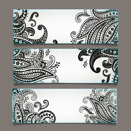 Set of  bookmarks with  elegant paisley ornaments