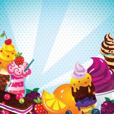 sorbet: Ice cream menu Illustration