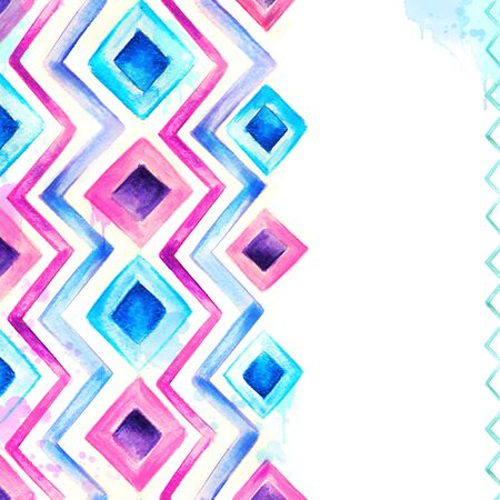 tribal design: Watercolor blue and pink background Stock Photo