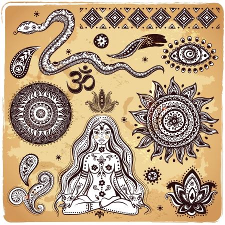 indian yoga: Set di elementi indiani ornamentali e simboli Vettoriali