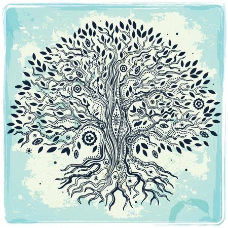 arbol de la vida: Vintage hermoso árbol dibujado a mano de la vida