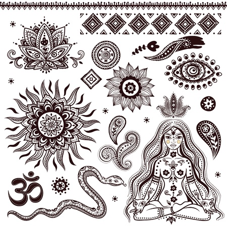 spiritual woman: Set of ornamental Indian elements and symbols