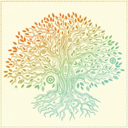 Bello albero della vita disegnato a mano d'annata Archivio Fotografico - 19895196
