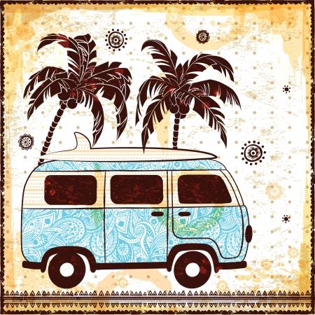auto illustratie: Ouderwetse auto illustratie Stock Illustratie