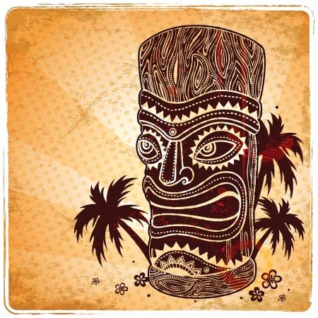 Vintage Aloha Tiki illustration  Illustration