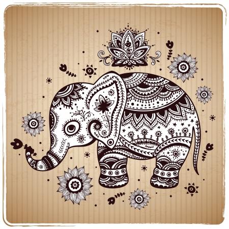 siluetas de elefantes: Hermosas mariposas sin costura Vectores