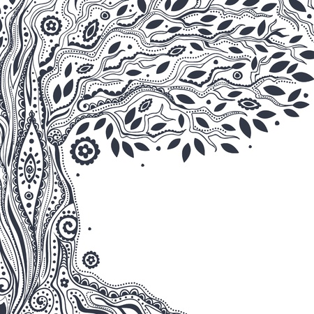 hand tree: Beautiful vintage hand drawn tree of life Illustration