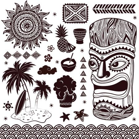 Weinlese Aloha Tiki Illustration Illustration