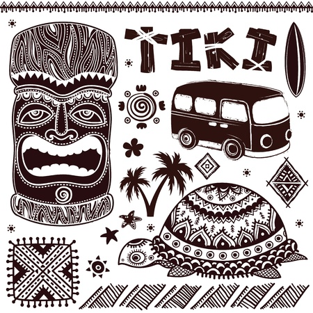burn out: Vintage Aloha Tiki illustration