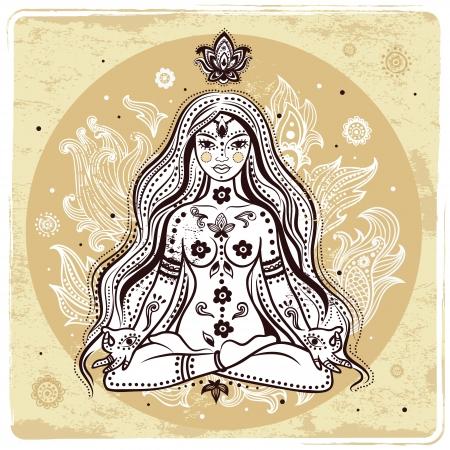 mantra: Girl in meditation  Illustration