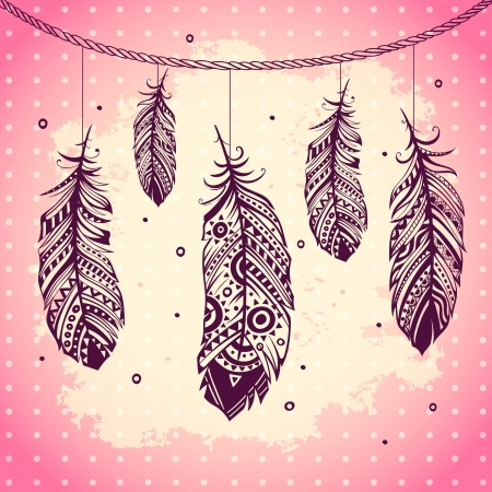 Fashion ethnic feather illustration can be used as greeting card Vector