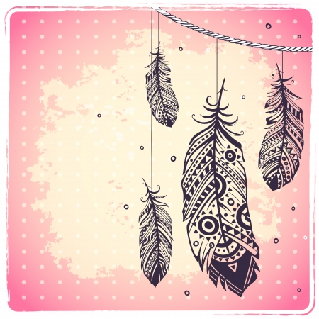 dream catcher: Fashion ethnic feather illustration can be used as greeting card