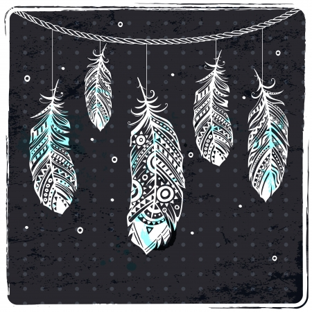 softly: Fashion ethnic feather illustration can be used as greeting card