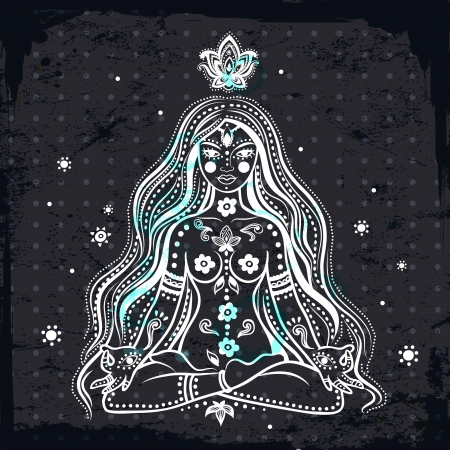 Beautiful Vector girl meditating with vintage background