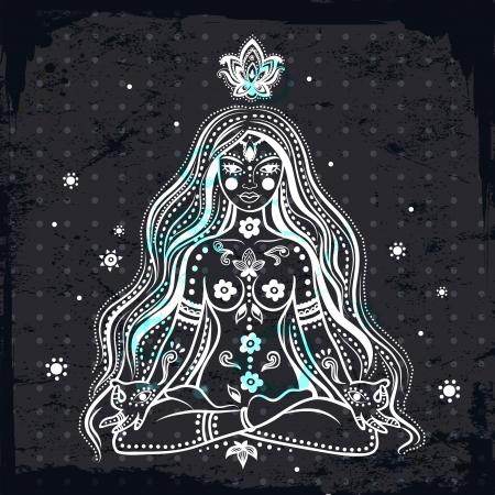 aura sun: Beautiful Vector girl meditating with vintage background