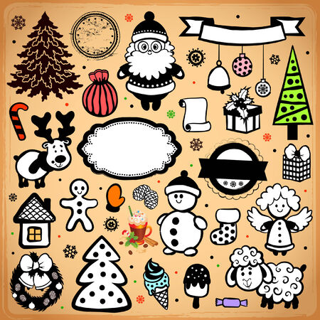 Vintage Christmas set of design elements for your business Vector