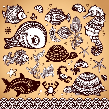 Vector set of fish, shells and flowers with ornaments Stock Vector - 23823446
