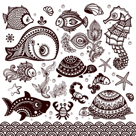 Vector set of fish, shells and flowers with ornaments Illustration