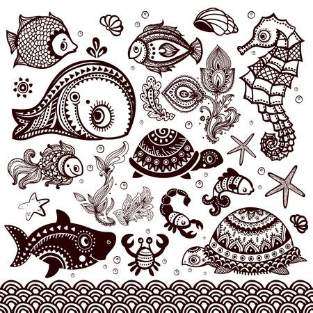 Vektor-Satz von Fisch, Muscheln und Blumen mit Ornamenten