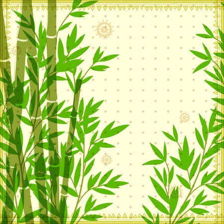 bamboo border: Bamboo vintage illustration can be used as a greeting card