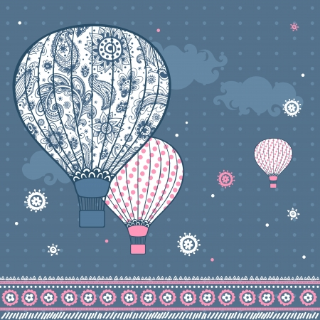 hot pink: Vintage Illustration with air balloons  can be used as a greeting card