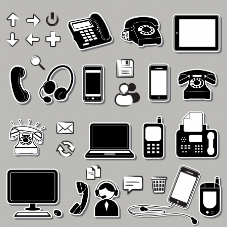 earpiece: Vector set of electronic symbols and icons
