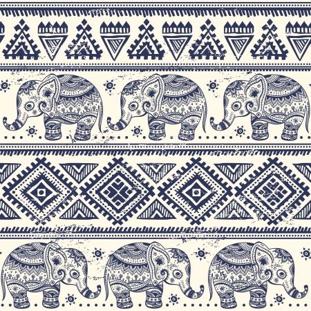 этнический: Этническая слон бесшовный фон Иллюстрация