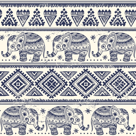 indianische muster: Ethnische Elefanten nahtlose Muster Illustration