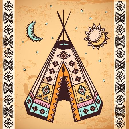 tipi: Tribal vintage native American set of symbols