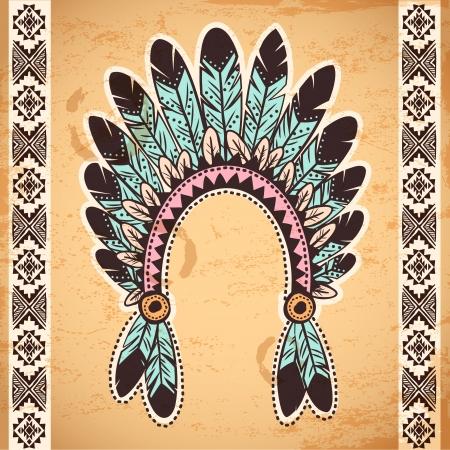 pattern: Tribal inheemse Amerikaanse veerhoofdband op vintage achtergrond Stock Illustratie
