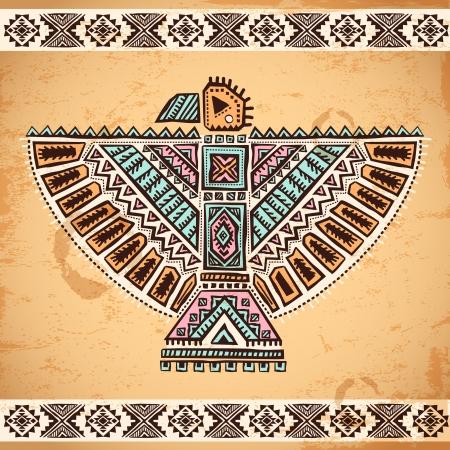 Tribal vintage inheemse Amerikaanse set van symbolen Stock Illustratie