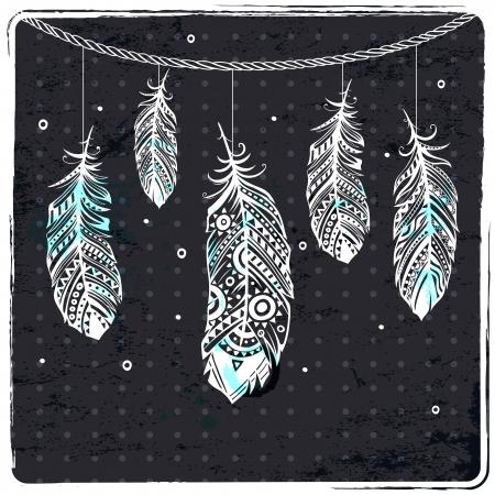 Fashion ethnic feather illustration Ilustrace