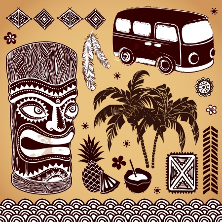 sunny beach: Set of Vintage Tiki design elements