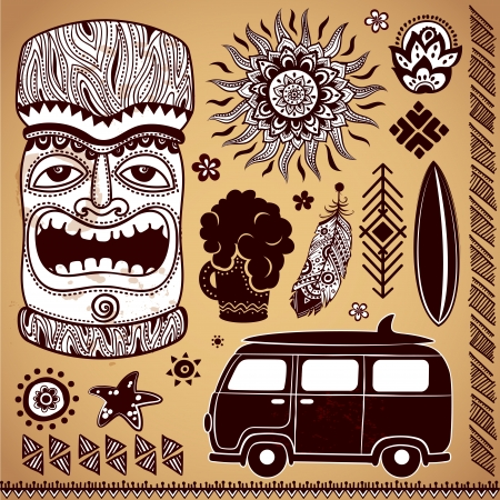 bares: Conjunto de elementos de design vintage Tiki Ilustra��o